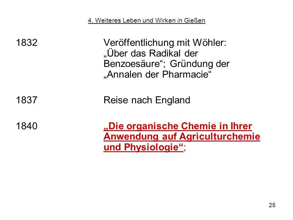 25 1832Veröffentlichung mit Wöhler: Über das Radikal der Benzoesäure; Gründung der Annalen der Pharmacie 1837Reise nach England 1840 Die organische Ch