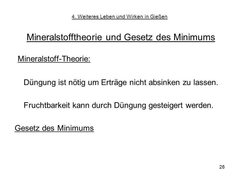 26 Mineralstofftheorie und Gesetz des Minimums 4. Weiteres Leben und Wirken in Gießen Mineralstoff-Theorie: Düngung ist nötig um Erträge nicht absinke
