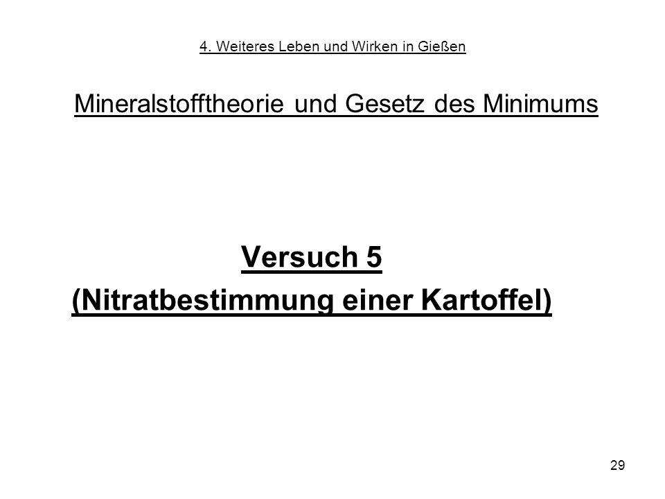29 Versuch 5 (Nitratbestimmung einer Kartoffel) 4. Weiteres Leben und Wirken in Gießen Mineralstofftheorie und Gesetz des Minimums