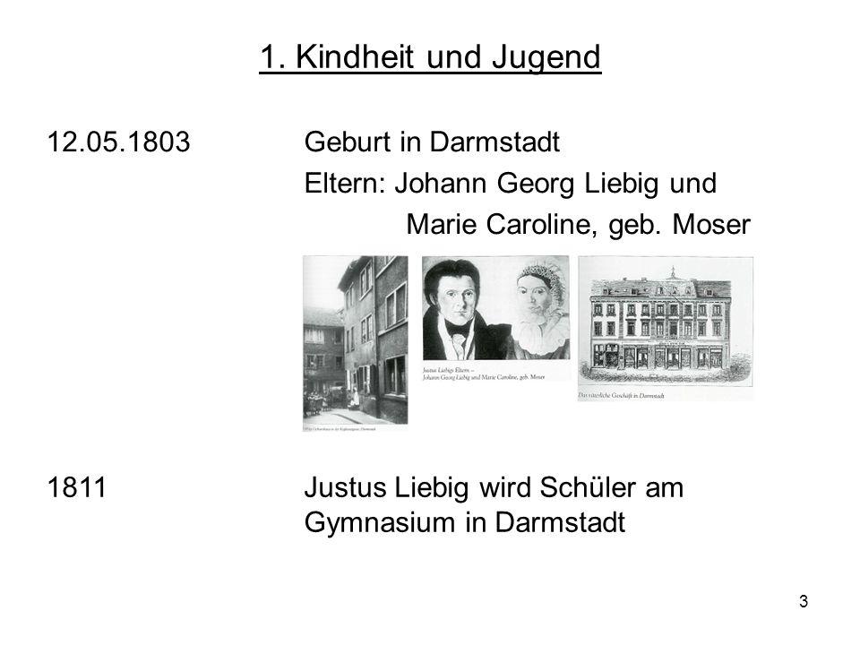 3 1. Kindheit und Jugend 12.05.1803Geburt in Darmstadt Eltern: Johann Georg Liebig und Marie Caroline, geb. Moser 1811 Justus Liebig wird Schüler am G