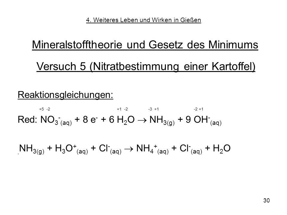 30 Reaktionsgleichungen: +5 -2 +1 -2 -3 +1 -2 +1 Red: NO 3 - (aq) + 8 e - + 6 H 2 O NH 3(g) + 9 OH - (aq) - NH 3(g) + H 3 O + (aq) + Cl - (aq) NH 4 +