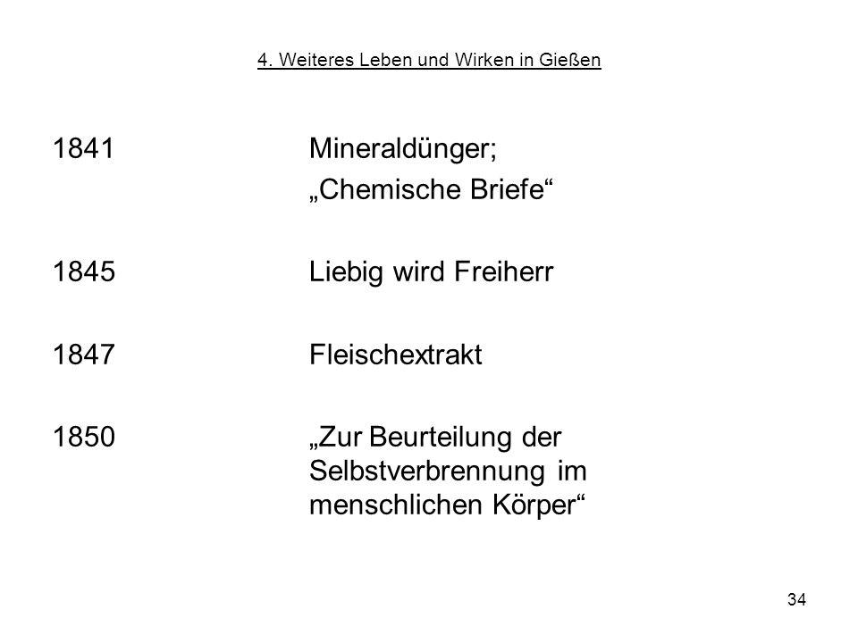 34 4. Weiteres Leben und Wirken in Gießen 1841Mineraldünger; Chemische Briefe 1845 Liebig wird Freiherr 1847Fleischextrakt 1850 Zur Beurteilung der Se