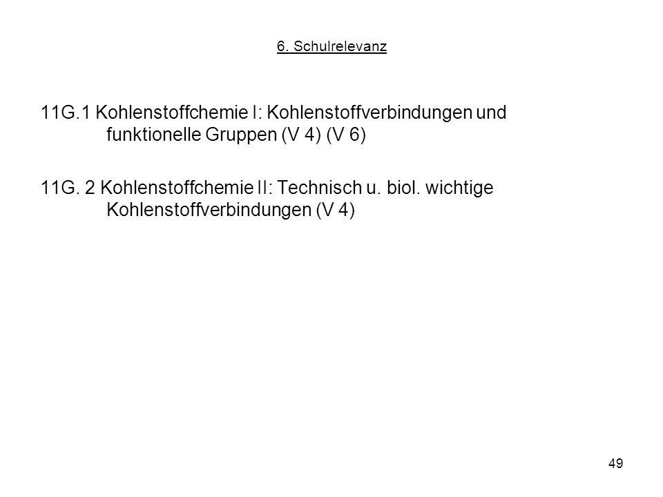 49 6. Schulrelevanz 11G.1 Kohlenstoffchemie I: Kohlenstoffverbindungen und funktionelle Gruppen (V 4) (V 6) 11G. 2 Kohlenstoffchemie II: Technisch u.