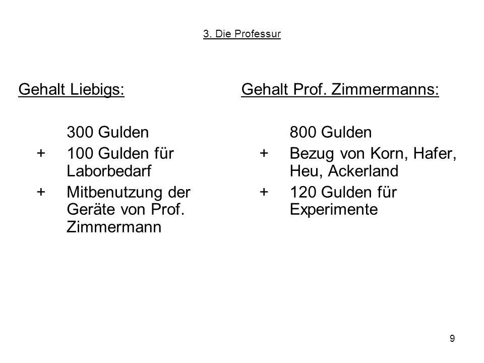 9 3. Die Professur Gehalt Liebigs: 300 Gulden + 100 Gulden für Laborbedarf +Mitbenutzung der Geräte von Prof. Zimmermann Gehalt Prof. Zimmermanns: 800