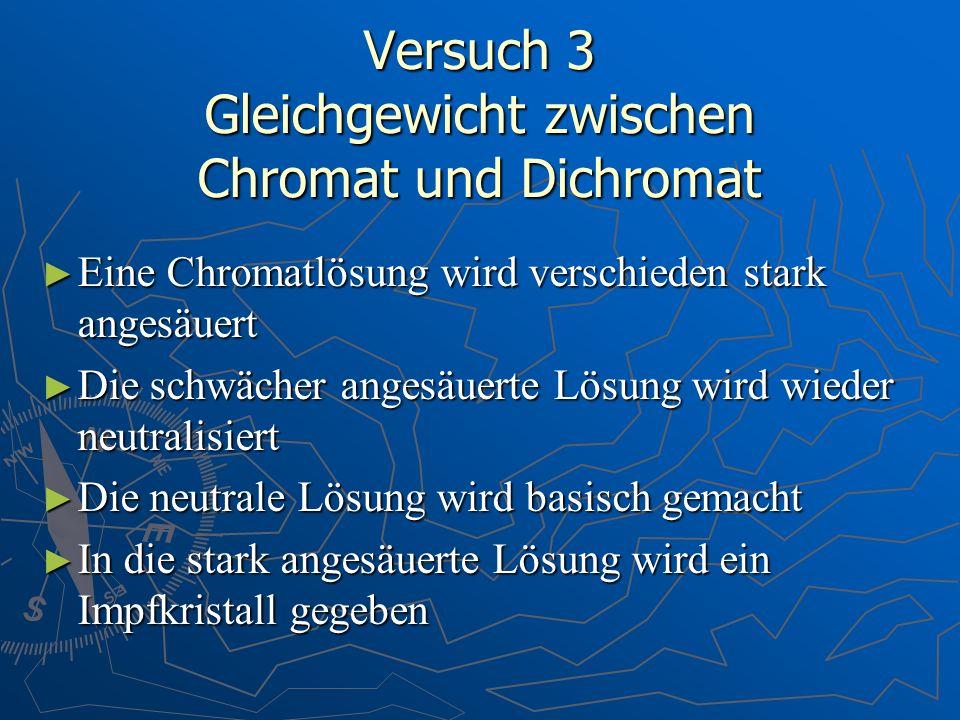 Versuch 3 Gleichgewicht zwischen Chromat und Dichromat Eine Chromatlösung wird verschieden stark angesäuert Eine Chromatlösung wird verschieden stark