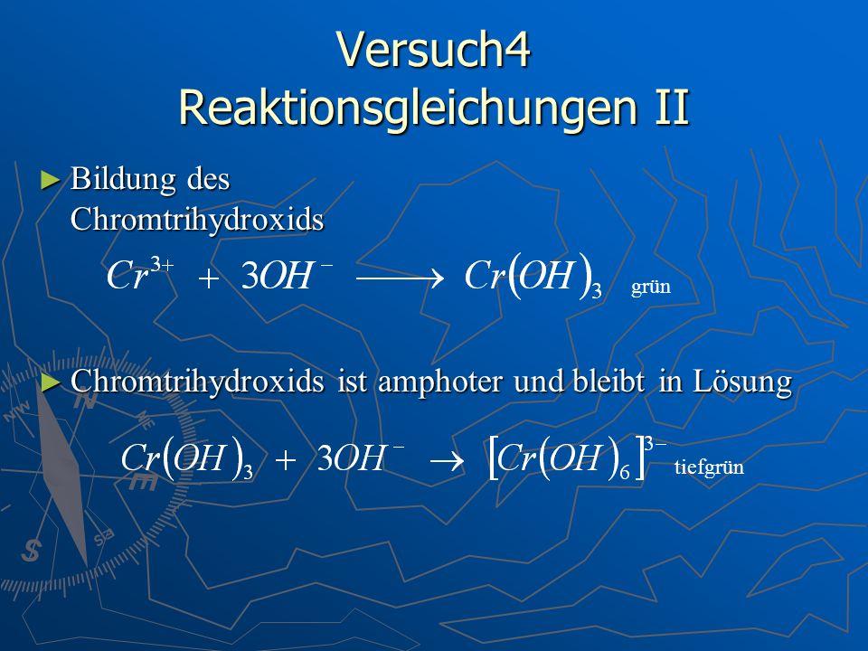 Versuch4 Reaktionsgleichungen II Bildung des Chromtrihydroxids Bildung des Chromtrihydroxids Chromtrihydroxids ist amphoter und bleibt in Lösung Chrom