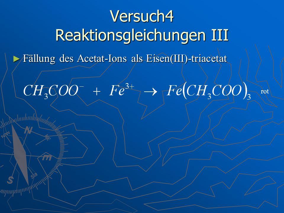 Versuch4 Reaktionsgleichungen III Fällung des Acetat-Ions als Eisen(III)-triacetat Fällung des Acetat-Ions als Eisen(III)-triacetat rot