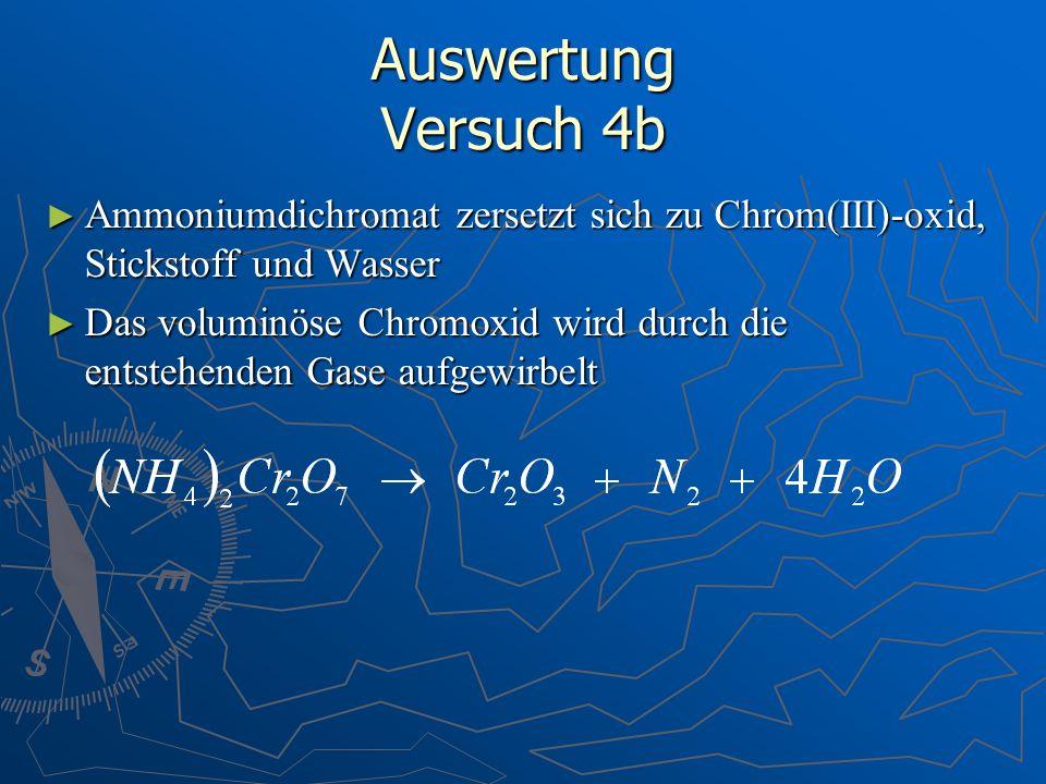 Auswertung Versuch 4b Ammoniumdichromat zersetzt sich zu Chrom(III)-oxid, Stickstoff und Wasser Ammoniumdichromat zersetzt sich zu Chrom(III)-oxid, St