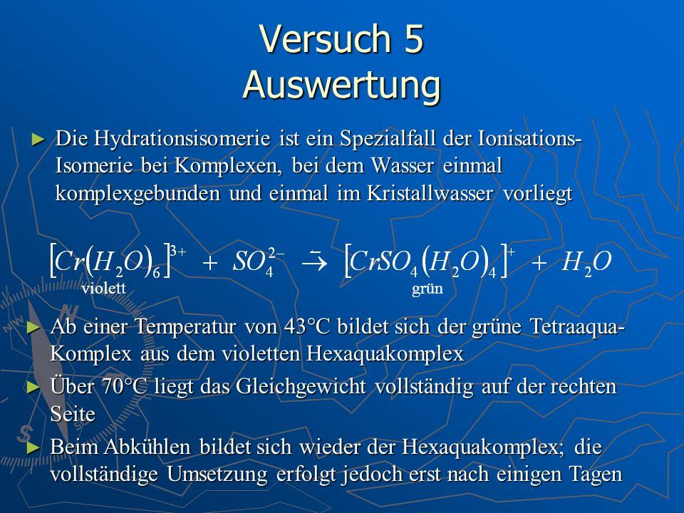 Versuch 5 Auswertung Die Hydrationsisomerie ist ein Spezialfall der Ionisations- Isomerie bei Komplexen, bei dem Wasser einmal komplexgebunden und ein