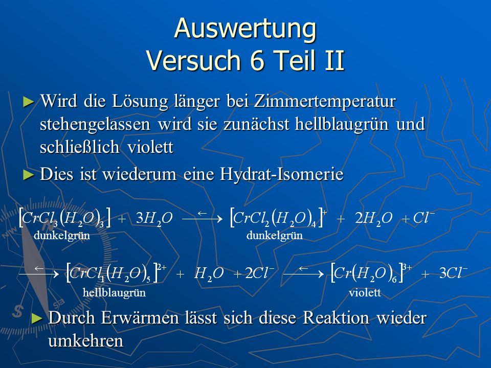 Auswertung Versuch 6 Teil II Wird die Lösung länger bei Zimmertemperatur stehengelassen wird sie zunächst hellblaugrün und schließlich violett Wird di