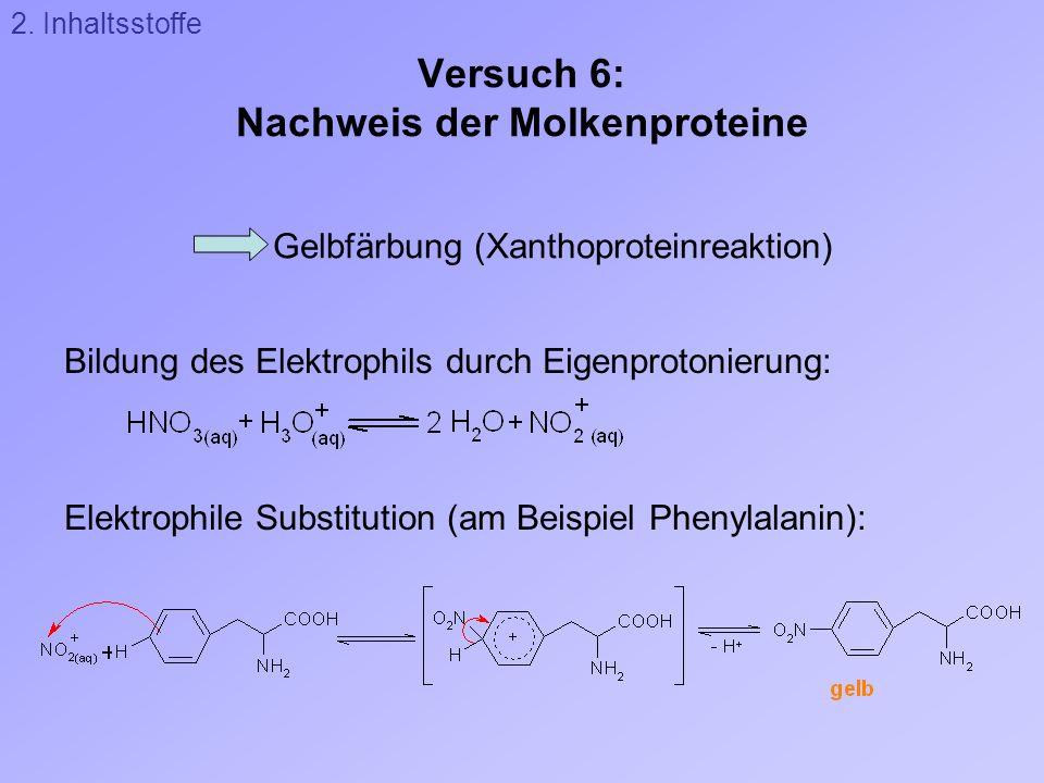 Versuch 6: Nachweis der Molkenproteine Gelbfärbung (Xanthoproteinreaktion) Bildung des Elektrophils durch Eigenprotonierung: Elektrophile Substitution