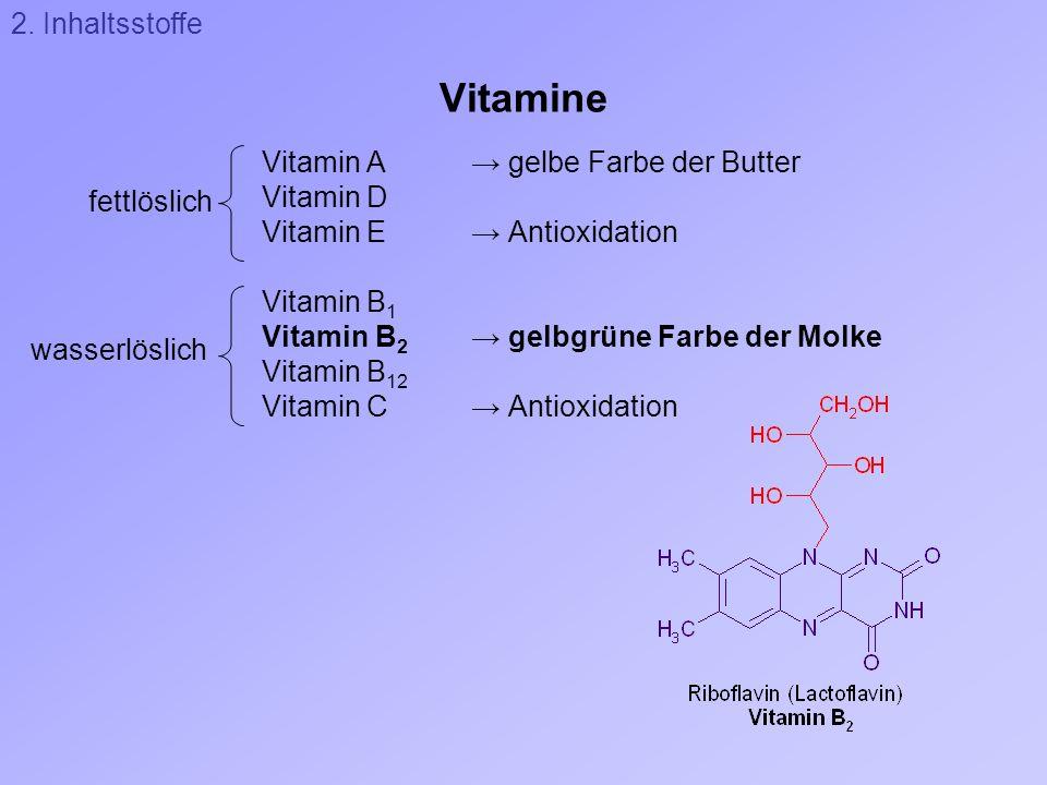 Vitamine Vitamin A gelbe Farbe der Butter Vitamin D Vitamin E Antioxidation Vitamin B 1 Vitamin B 2 gelbgrüne Farbe der Molke Vitamin B 12 Vitamin C A