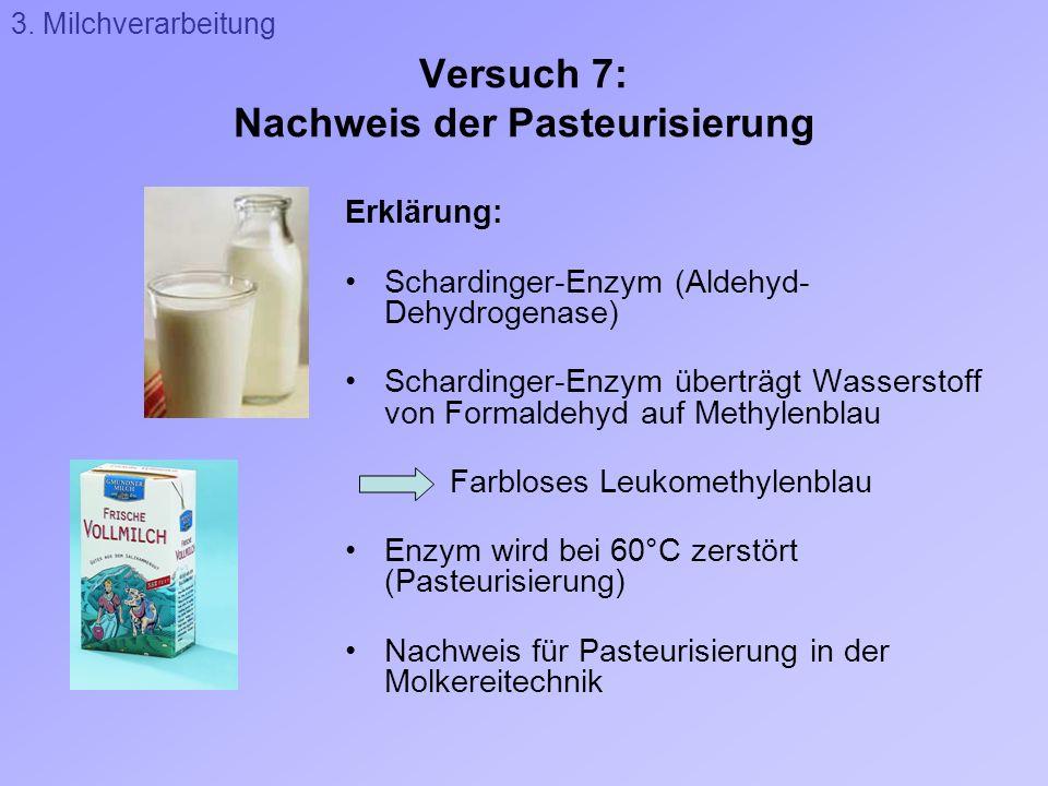 Versuch 7: Nachweis der Pasteurisierung Erklärung: Schardinger-Enzym (Aldehyd- Dehydrogenase) Schardinger-Enzym überträgt Wasserstoff von Formaldehyd