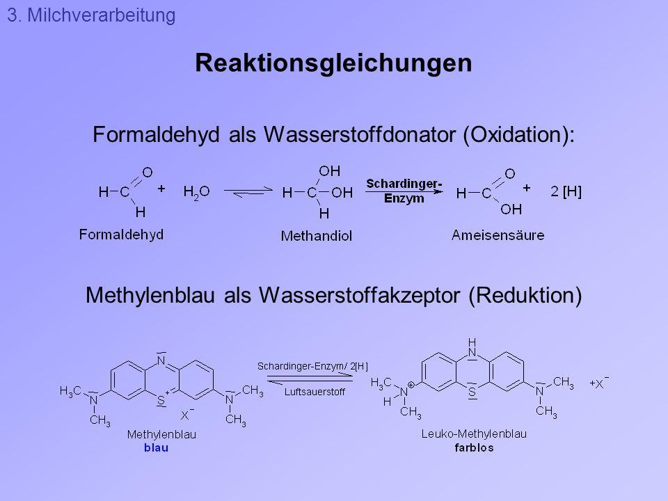 Reaktionsgleichungen Formaldehyd als Wasserstoffdonator (Oxidation): Methylenblau als Wasserstoffakzeptor (Reduktion) 3. Milchverarbeitung