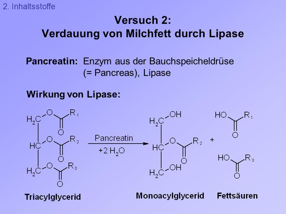 Versuch 2: Verdauung von Milchfett durch Lipase Wirkung von Lipase: Pancreatin: Enzym aus der Bauchspeicheldrüse (= Pancreas), Lipase 2. Inhaltsstoffe