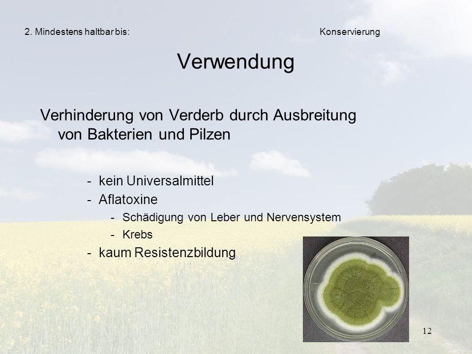 12 Verwendung Verhinderung von Verderb durch Ausbreitung von Bakterien und Pilzen -kein Universalmittel -Aflatoxine -Schädigung von Leber und Nervensy