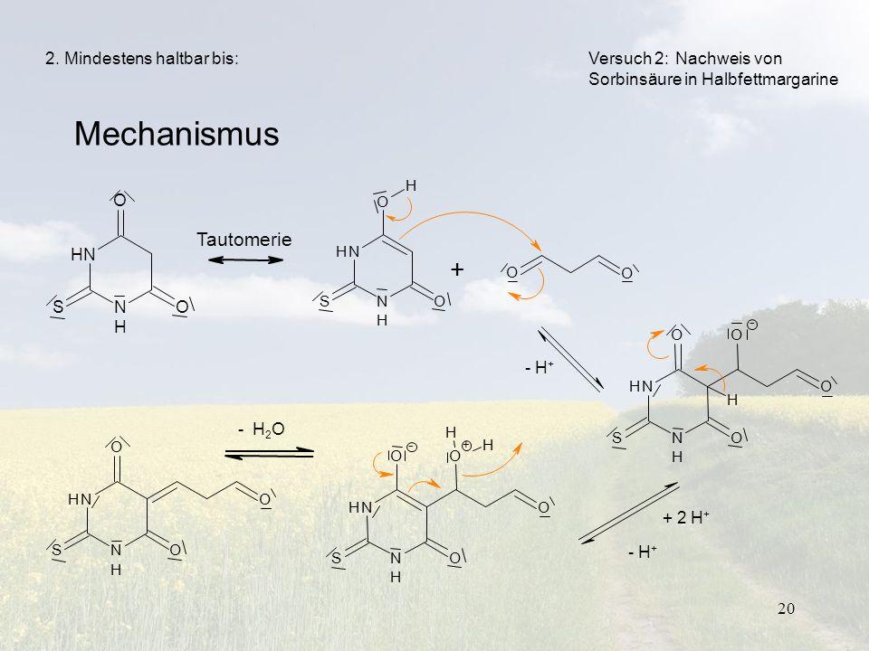 20 N H NH O SO H O O + Mechanismus Versuch 2:Nachweis von Sorbinsäure in Halbfettmargarine Tautomerie N H NH O SO N H NH O SO O O H - N H NH O SO O O