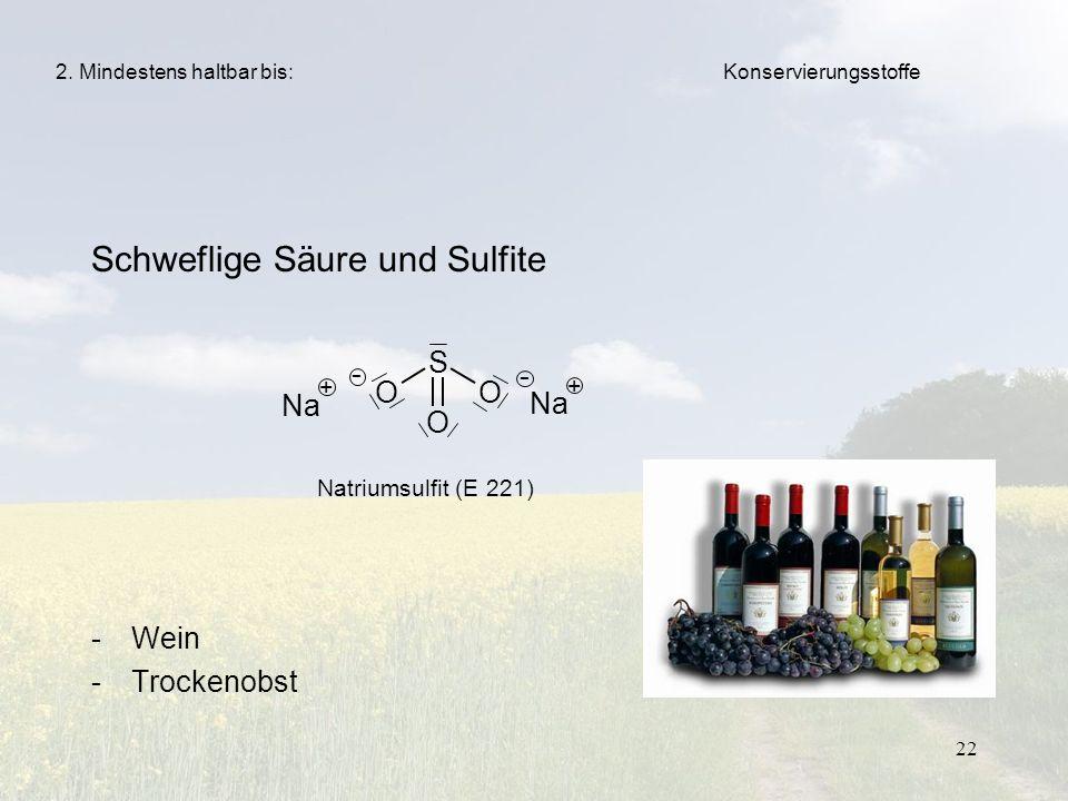 22 Schweflige Säure und Sulfite -Wein -Trockenobst 2. Mindestens haltbar bis: Natriumsulfit (E 221) Konservierungsstoffe S O O O Na + + - -