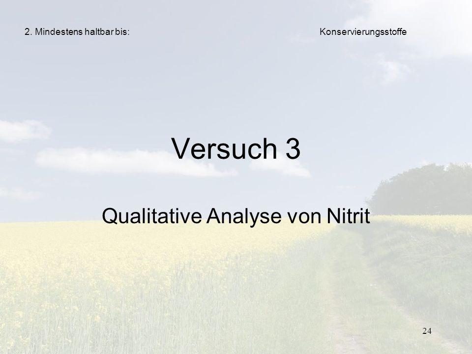 24 Versuch 3 Qualitative Analyse von Nitrit Konservierungsstoffe2. Mindestens haltbar bis: