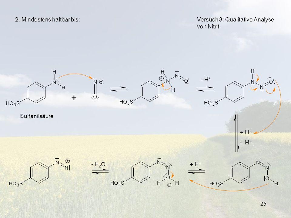 26 Versuch 3: Qualitative Analyse von Nitrit - H + + H + - H + + H + - H 2 O Sulfanilsäure 2. Mindestens haltbar bis: