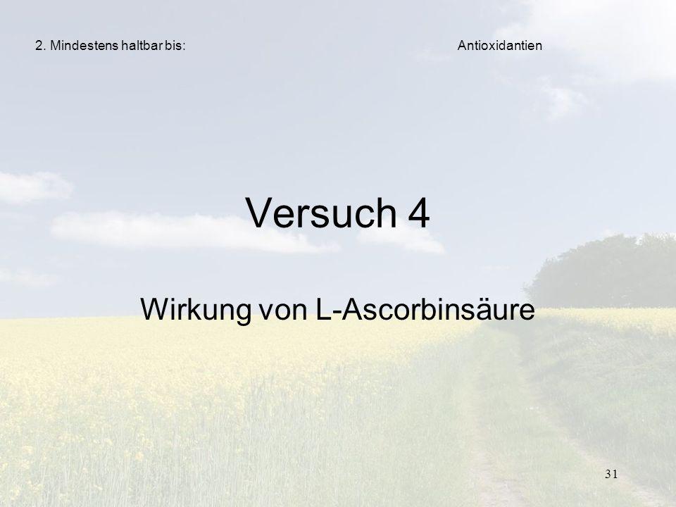 31 Versuch 4 Wirkung von L-Ascorbinsäure Antioxidantien2. Mindestens haltbar bis: