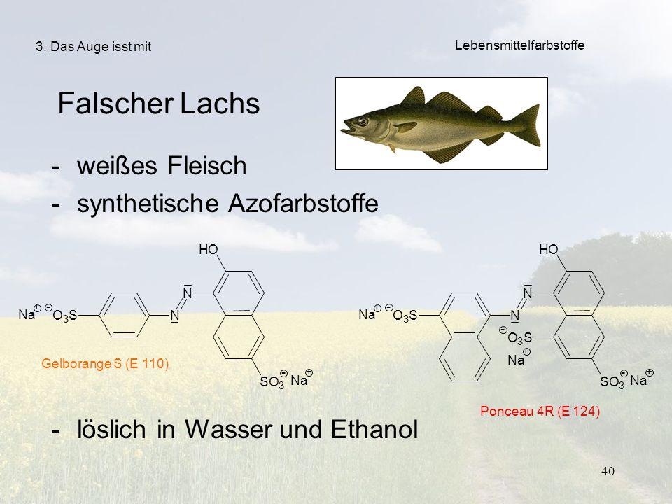 40 Falscher Lachs -weißes Fleisch -synthetische Azofarbstoffe -löslich in Wasser und Ethanol Gelborange S (E 110) Ponceau 4R (E 124) 3. Das Auge isst