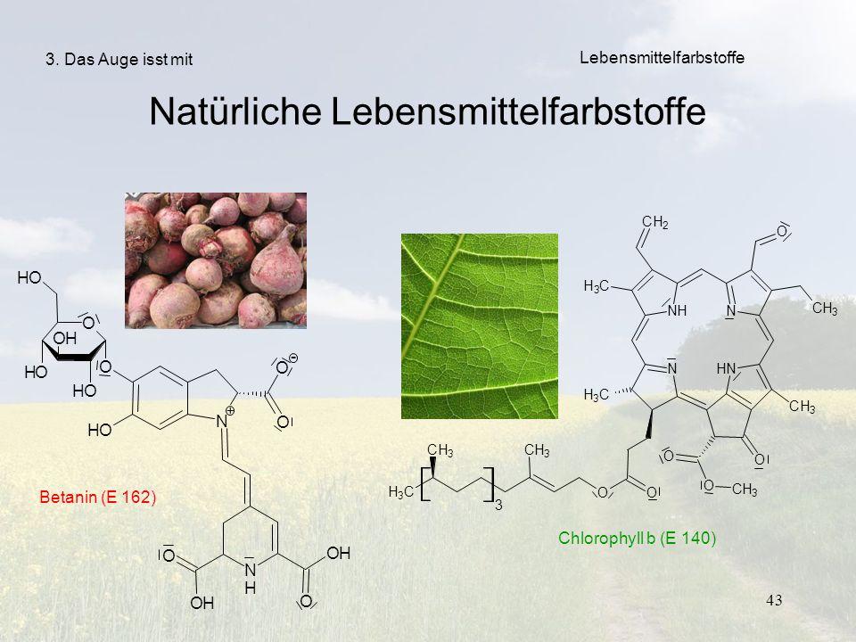 43 Lebensmittelfarbstoffe 3. Das Auge isst mit Natürliche Lebensmittelfarbstoffe Betanin (E 162) Chlorophyll b (E 140)