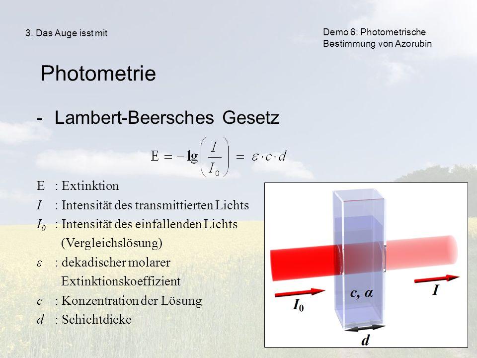 51 -Lambert-Beersches Gesetz Ε: Extinktion Ι: Intensität des transmittierten Lichts Ι 0 : Intensität des einfallenden Lichts (Vergleichslösung) ε: dek