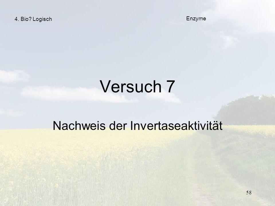 58 Versuch 7 Nachweis der Invertaseaktivität Enzyme 4. Bio? Logisch