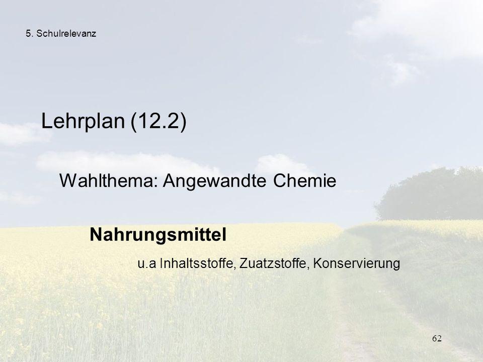 62 5. Schulrelevanz Lehrplan (12.2) Wahlthema: Angewandte Chemie Nahrungsmittel u.a Inhaltsstoffe, Zuatzstoffe, Konservierung