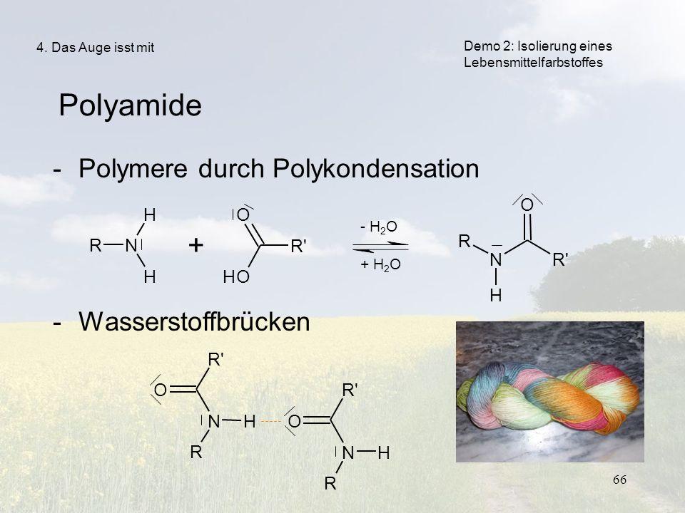 66 RN H H + R' O OH N H O R -Polymere durch Polykondensation -Wasserstoffbrücken Polyamide 4. Das Auge isst mit - H 2 O + H 2 O R' NH O R NH O R Demo