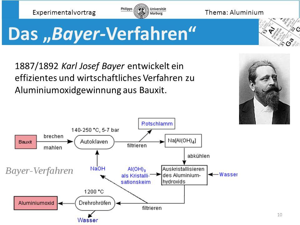 10 Das Bayer-Verfahren 1887/1892 Karl Josef Bayer entwickelt ein effizientes und wirtschaftliches Verfahren zu Aluminiumoxidgewinnung aus Bauxit. Expe
