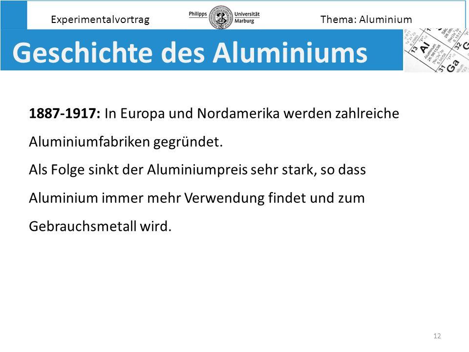 12 Geschichte des Aluminiums 1887-1917: In Europa und Nordamerika werden zahlreiche Aluminiumfabriken gegründet. Als Folge sinkt der Aluminiumpreis se
