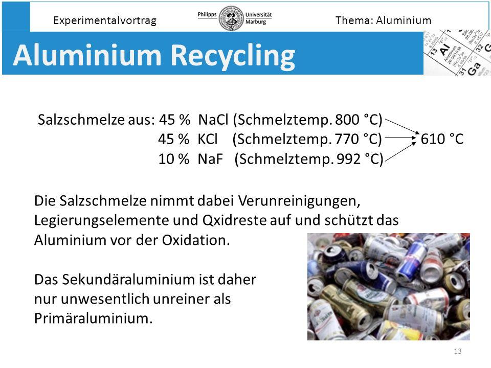 13 Aluminium Recycling Salzschmelze aus: 45 % NaCl (Schmelztemp. 800 °C) 45 % KCl (Schmelztemp. 770 °C) 10 % NaF (Schmelztemp. 992 °C) Experimentalvor