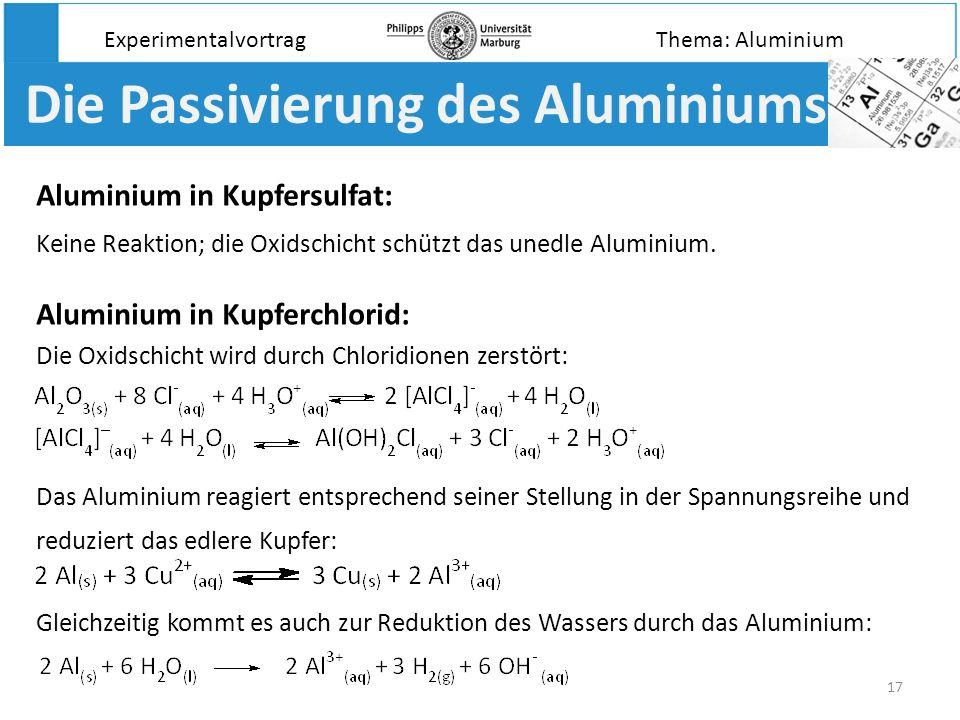 17 Die Passivierung des Aluminiums Aluminium in Kupferchlorid: Experimentalvortrag Aluminium in Kupfersulfat: Das Aluminium reagiert entsprechend sein