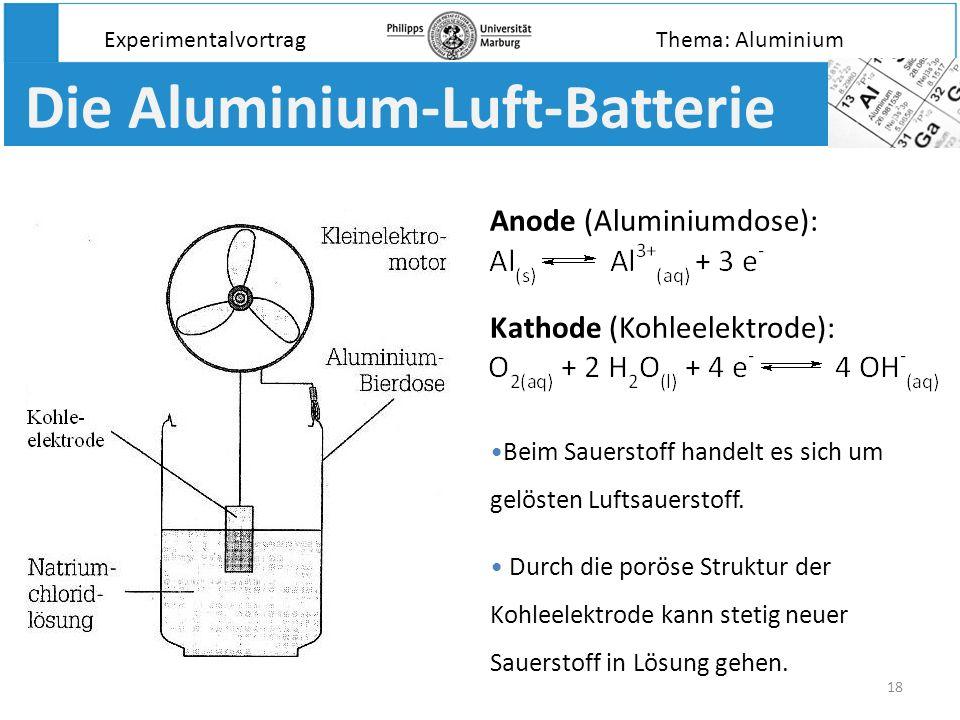 18 Die Aluminium-Luft-Batterie Anode (Aluminiumdose): Kathode (Kohleelektrode): Beim Sauerstoff handelt es sich um gelösten Luftsauerstoff. Durch die