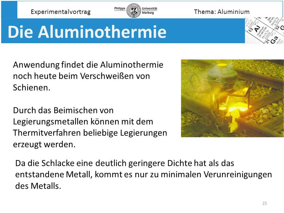 25 Die Aluminothermie Experimentalvortrag Anwendung findet die Aluminothermie noch heute beim Verschweißen von Schienen. Durch das Beimischen von Legi