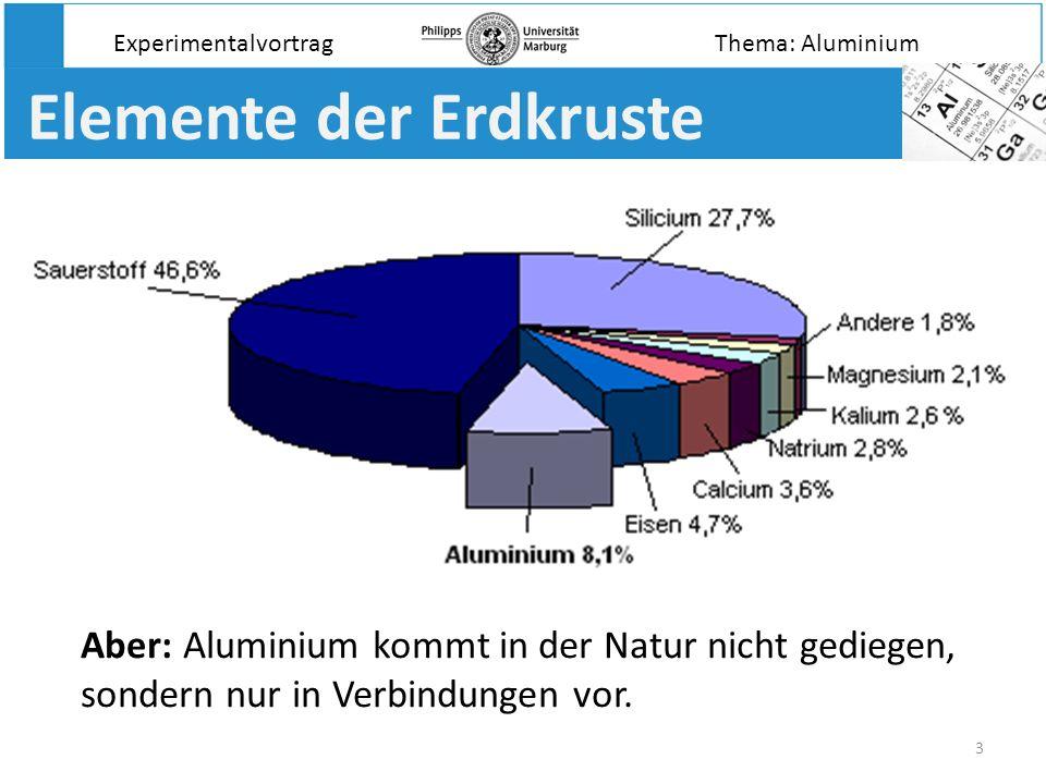 3 Elemente der Erdkruste Aber: Aluminium kommt in der Natur nicht gediegen, sondern nur in Verbindungen vor. ExperimentalvortragThema: Aluminium