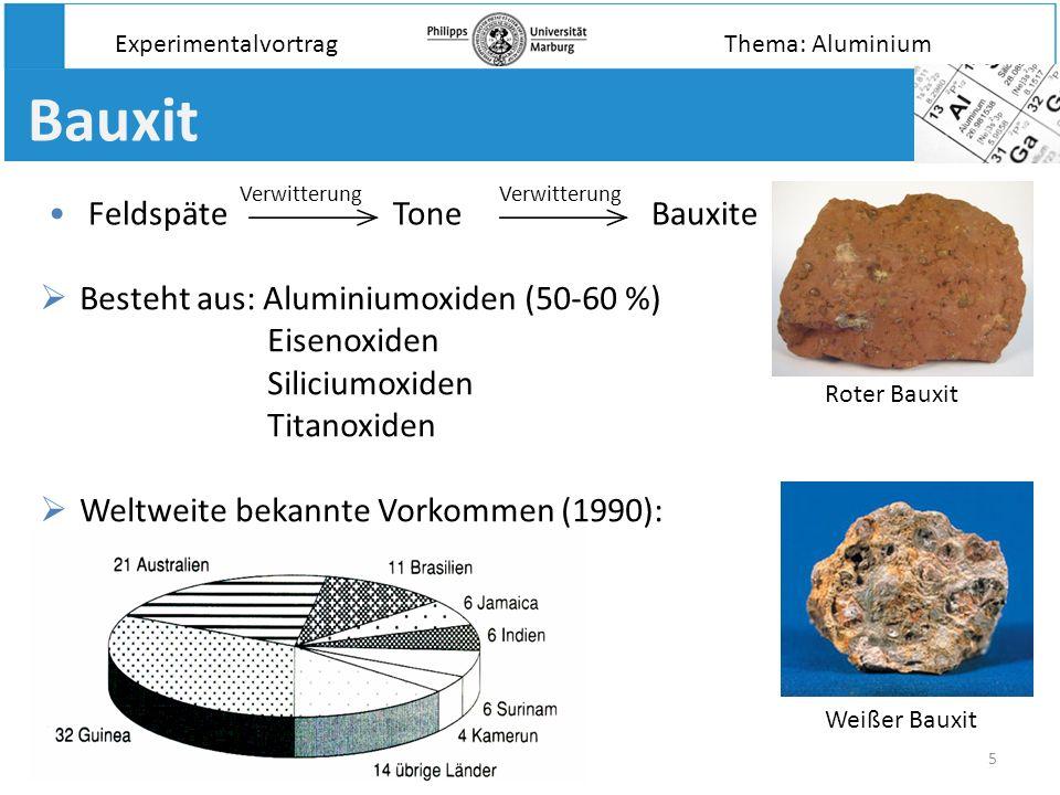 5 Bauxit Experimentalvortrag Besteht aus: Aluminiumoxiden (50-60 %) Eisenoxiden Siliciumoxiden Titanoxiden Weltweite bekannte Vorkommen (1990): Roter