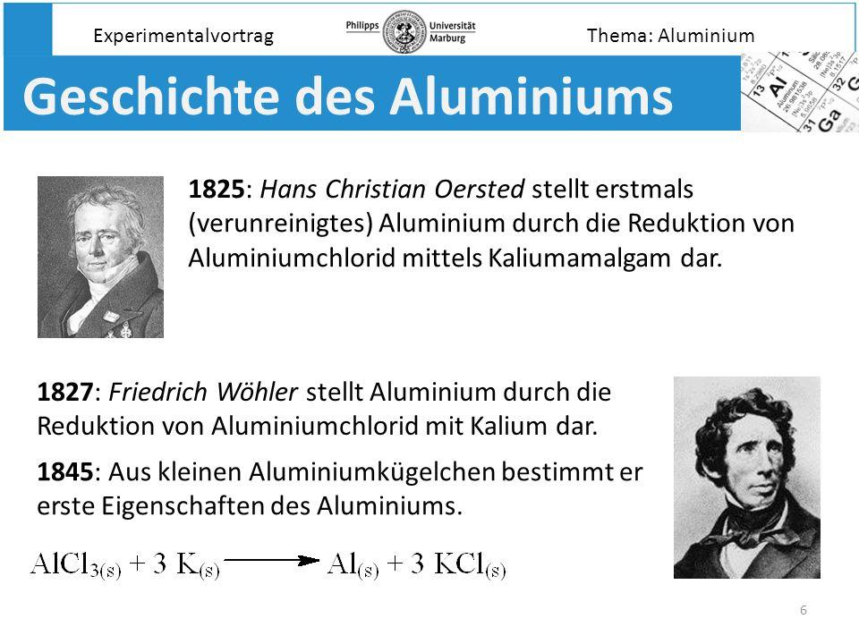17 Die Passivierung des Aluminiums Aluminium in Kupferchlorid: Experimentalvortrag Aluminium in Kupfersulfat: Das Aluminium reagiert entsprechend seiner Stellung in der Spannungsreihe und reduziert das edlere Kupfer: Gleichzeitig kommt es auch zur Reduktion des Wassers durch das Aluminium: Keine Reaktion; die Oxidschicht schützt das unedle Aluminium.