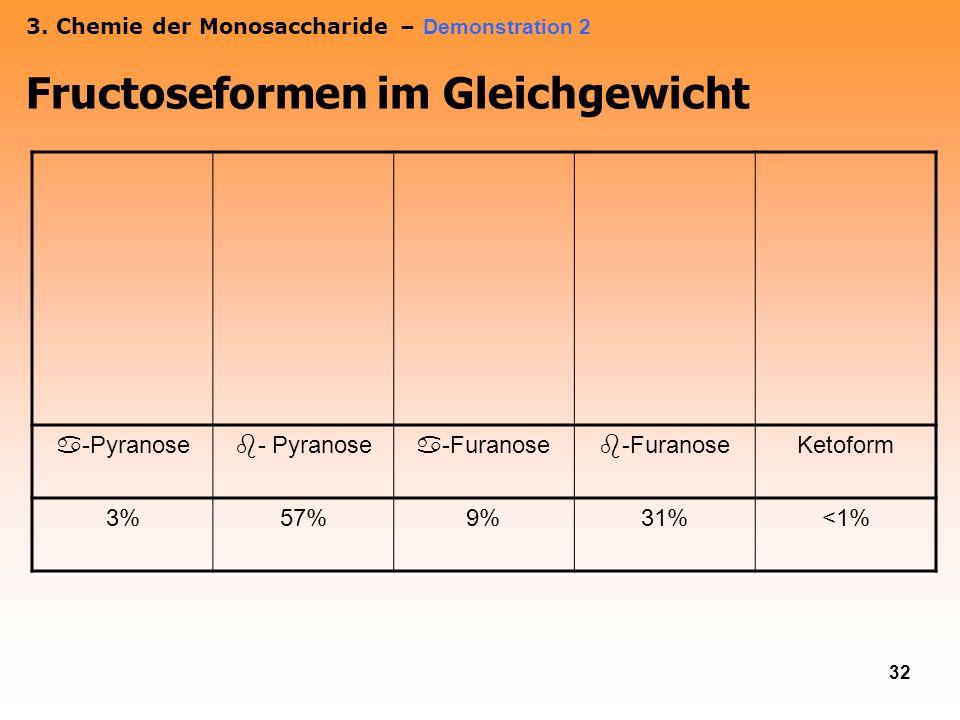 32 3. Chemie der Monosaccharide – Demonstration 2 Fructoseformen im Gleichgewicht -Pyranose -Furanose Ketoform 3%57%9%31%<1%