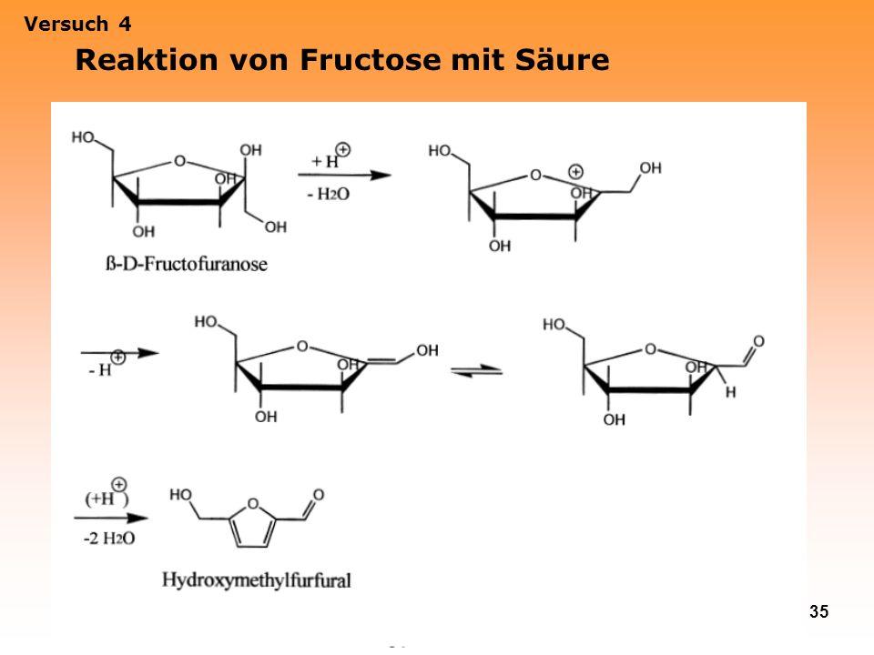 35 Versuch 4 Reaktion von Fructose mit Säure