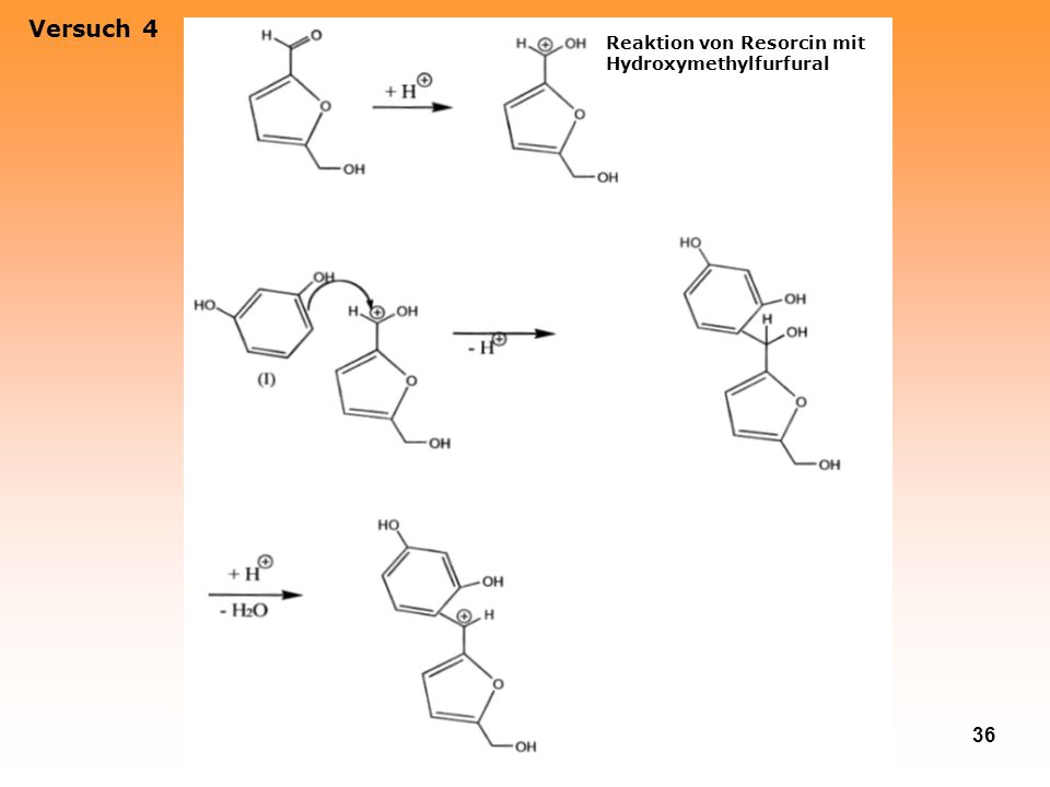 36 Versuch 4 Reaktion von Resorcin mit Hydroxymethylfurfural