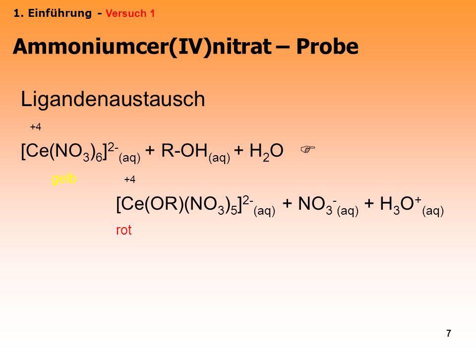 7 Ligandenaustausch +4 [Ce(NO 3 ) 6 ] 2- (aq) + R-OH (aq) + H 2 O gelb +4 [Ce(OR)(NO 3 ) 5 ] 2- (aq) + NO 3 - (aq) + H 3 O + (aq) rot 1. Einführung -