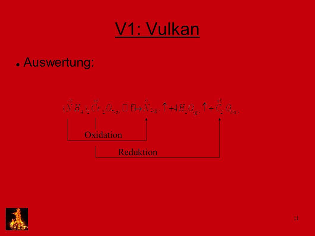 11 V1: Vulkan Auswertung: Oxidation Reduktion