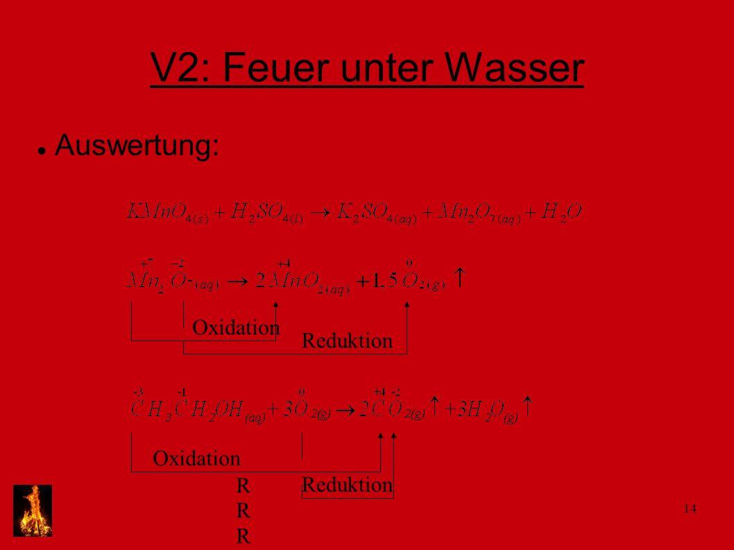 14 V2: Feuer unter Wasser Auswertung: Oxidation Reduktion Oxidation RRRRRR Reduktion