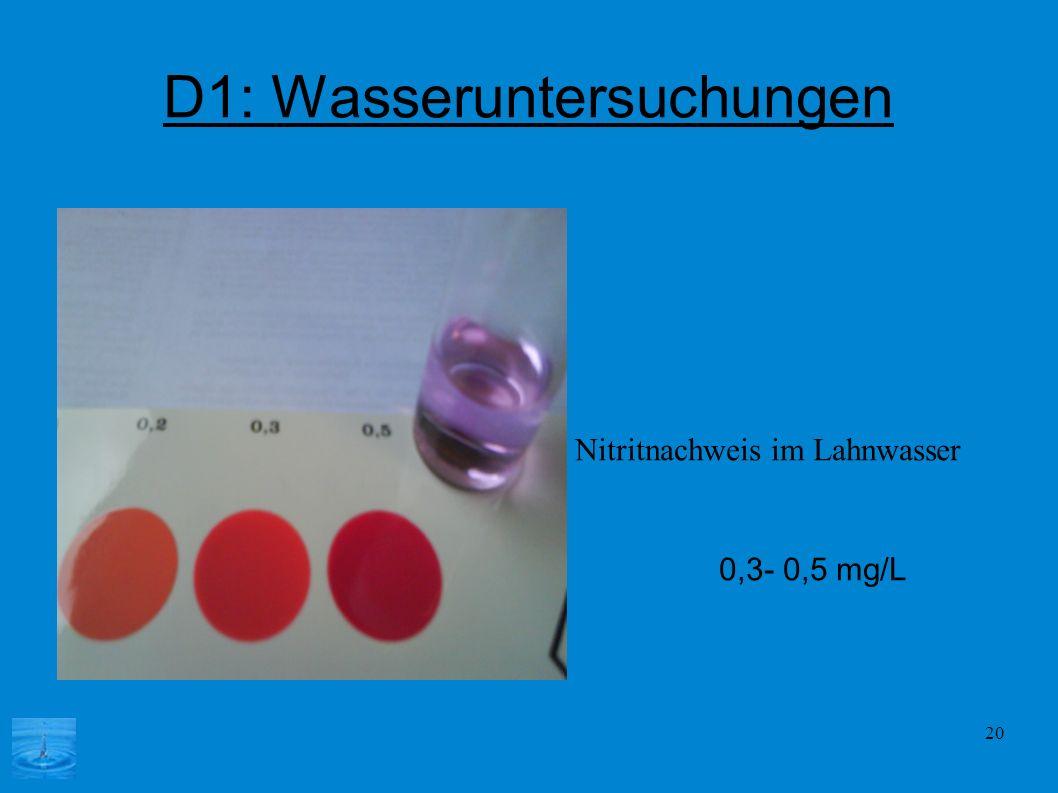 20 D1: Wasseruntersuchungen Nitritnachweis im Lahnwasser 0,3- 0,5 mg/L