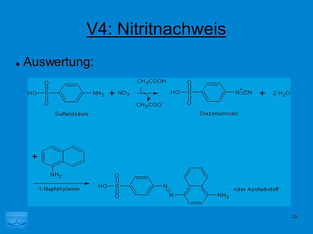 26 V4: Nitritnachweis Auswertung: