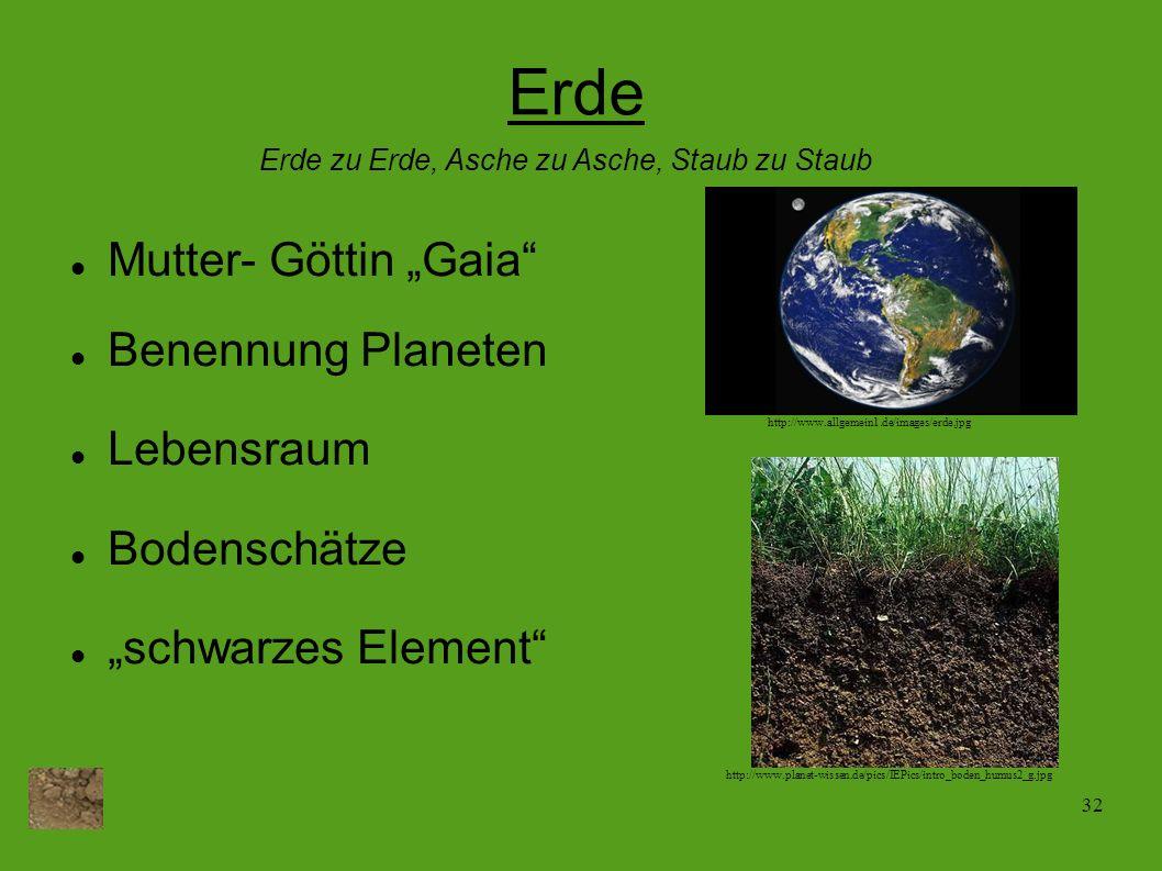 32 Erde Mutter- Göttin Gaia Benennung Planeten Lebensraum Bodenschätze schwarzes Element Erde zu Erde, Asche zu Asche, Staub zu Staub http://www.allge