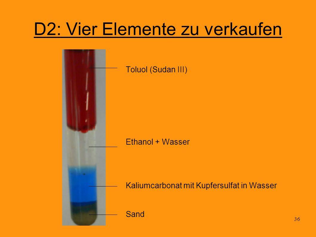 36 D2: Vier Elemente zu verkaufen Toluol (Sudan III) Ethanol + Wasser Kaliumcarbonat mit Kupfersulfat in Wasser Sand